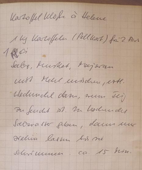 Rezept Kartoffelklöße, handschriftlich