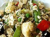 Reispfanne mit Pilzen und anderem Gemüse