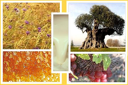 Weizen, Wein, Milch, Öl und Honig