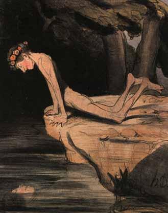 Narziss - Zeichnung von Daumier: Narziss ist an der Quelle, und an einem Abgrund zugleich