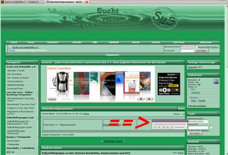 Screenshot Sucht und Selbsthilfe e.V.